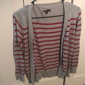 Grey and Red Forever 21 Cardigan
